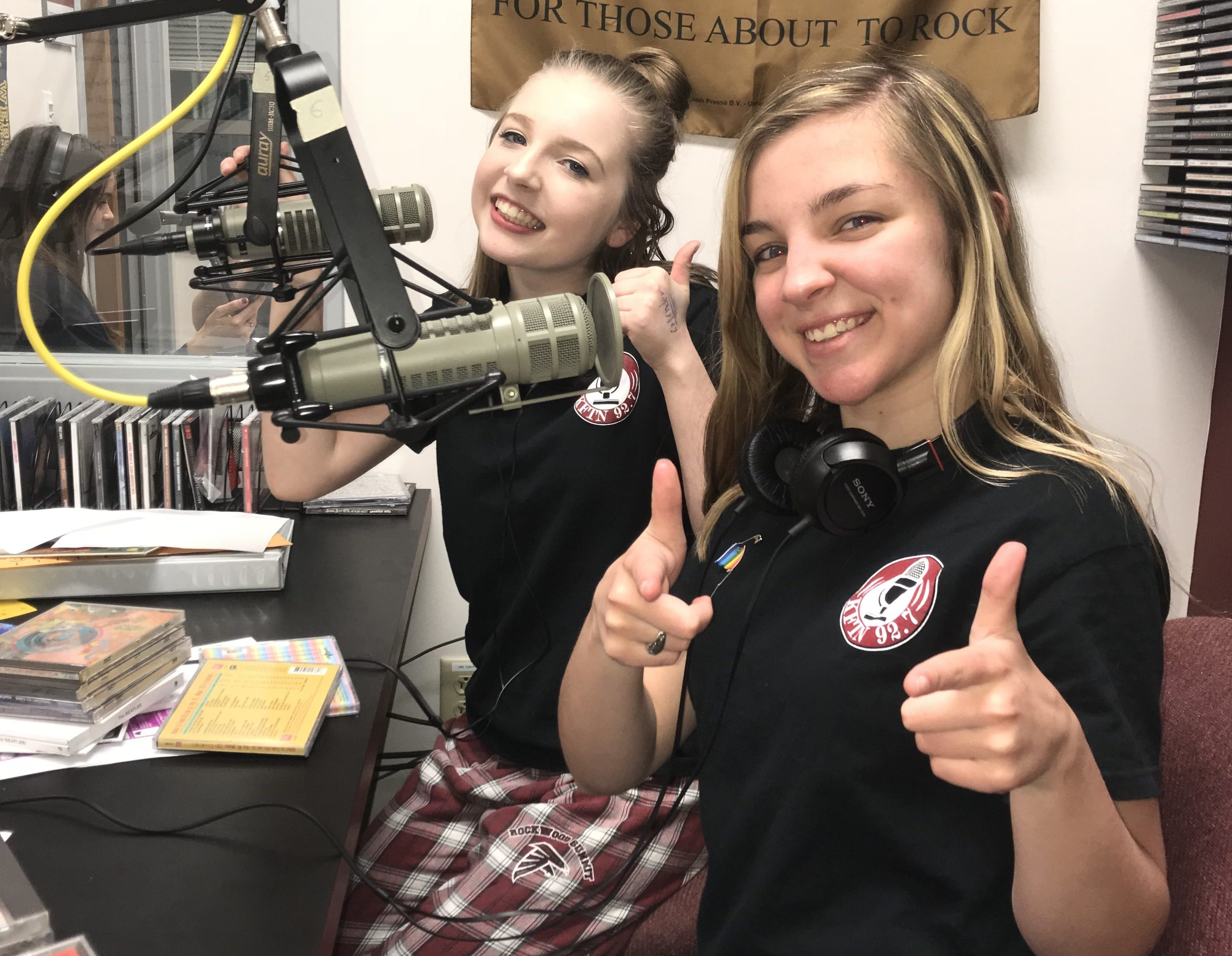 Station Manager, Katie Quinn,  and Program Director, Kiki Wagner,  pose during Girls Next Door, at the Rockin' Lock-In.
