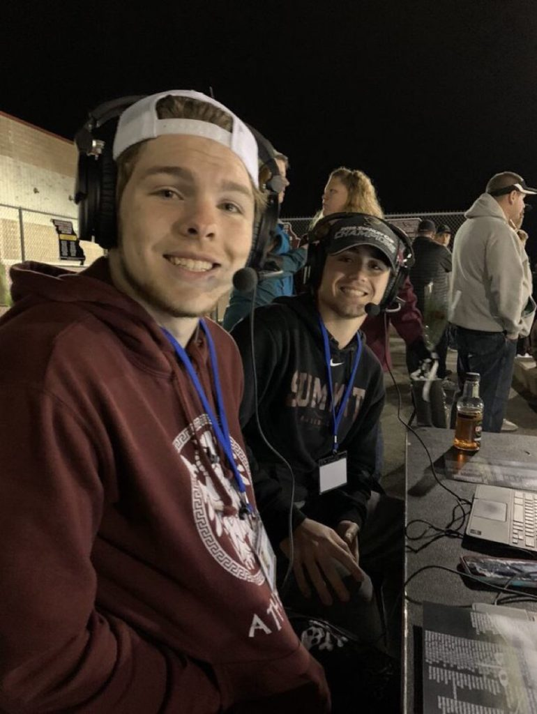 Jack Rubelmann and Kahlen McFadden broadcasting Summit's football game against Webster Groves
